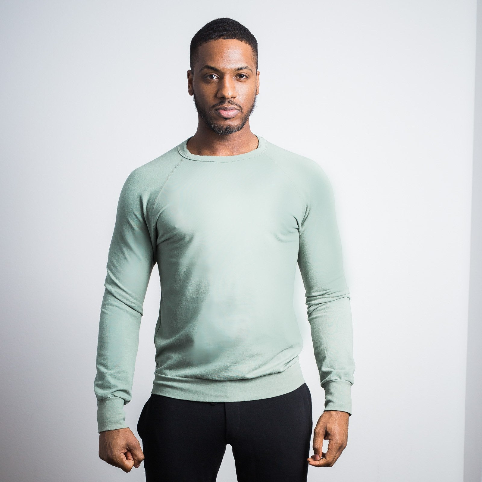 Sage Green Stretch Crewneck Sweatshirt