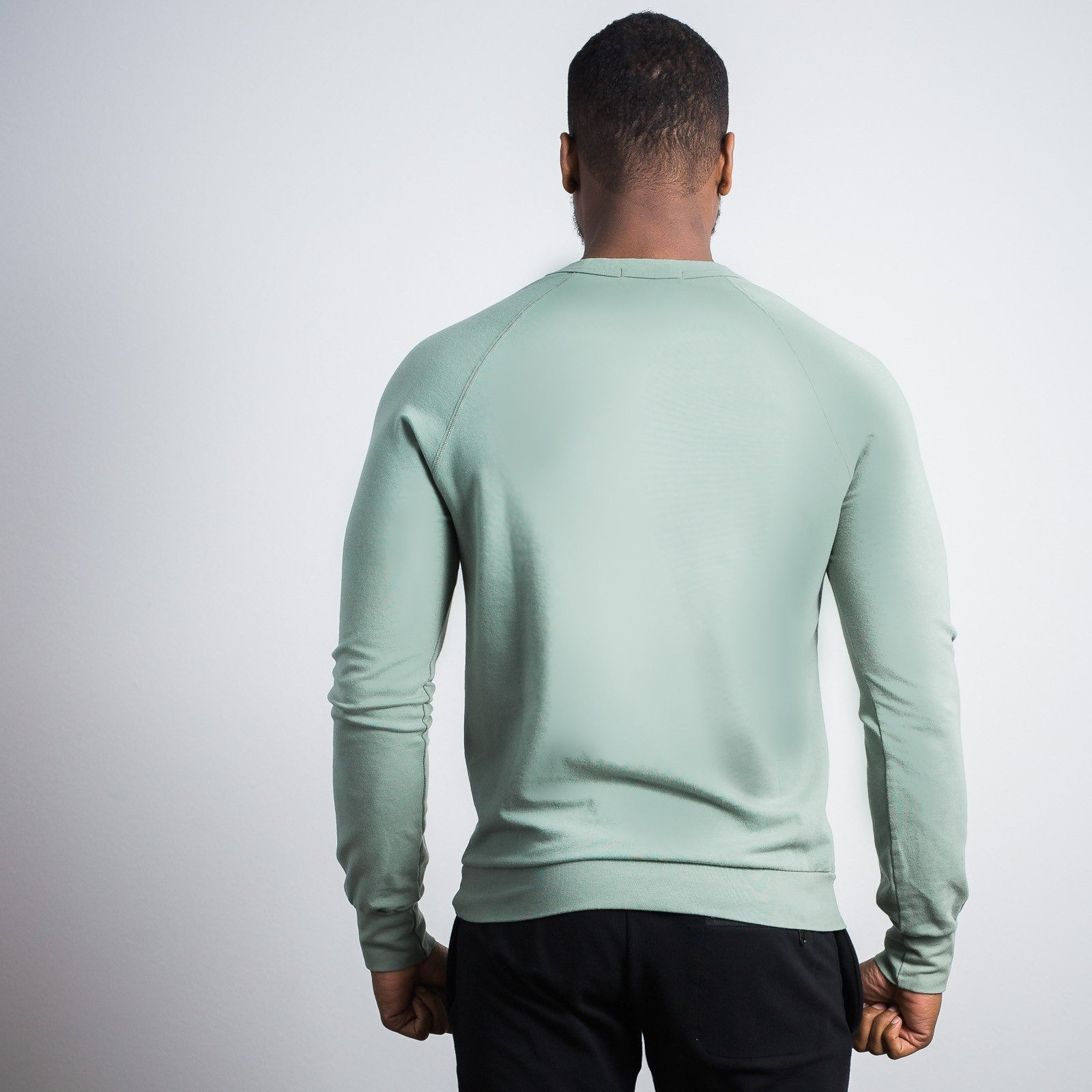 Sage Green Stretch Crewneck Sweatshirt - Sweat Tailor