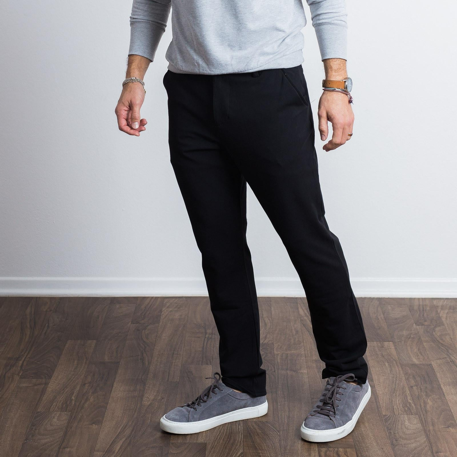 Black Everywear Stretch Chino Knit Pants - Sweat Tailor