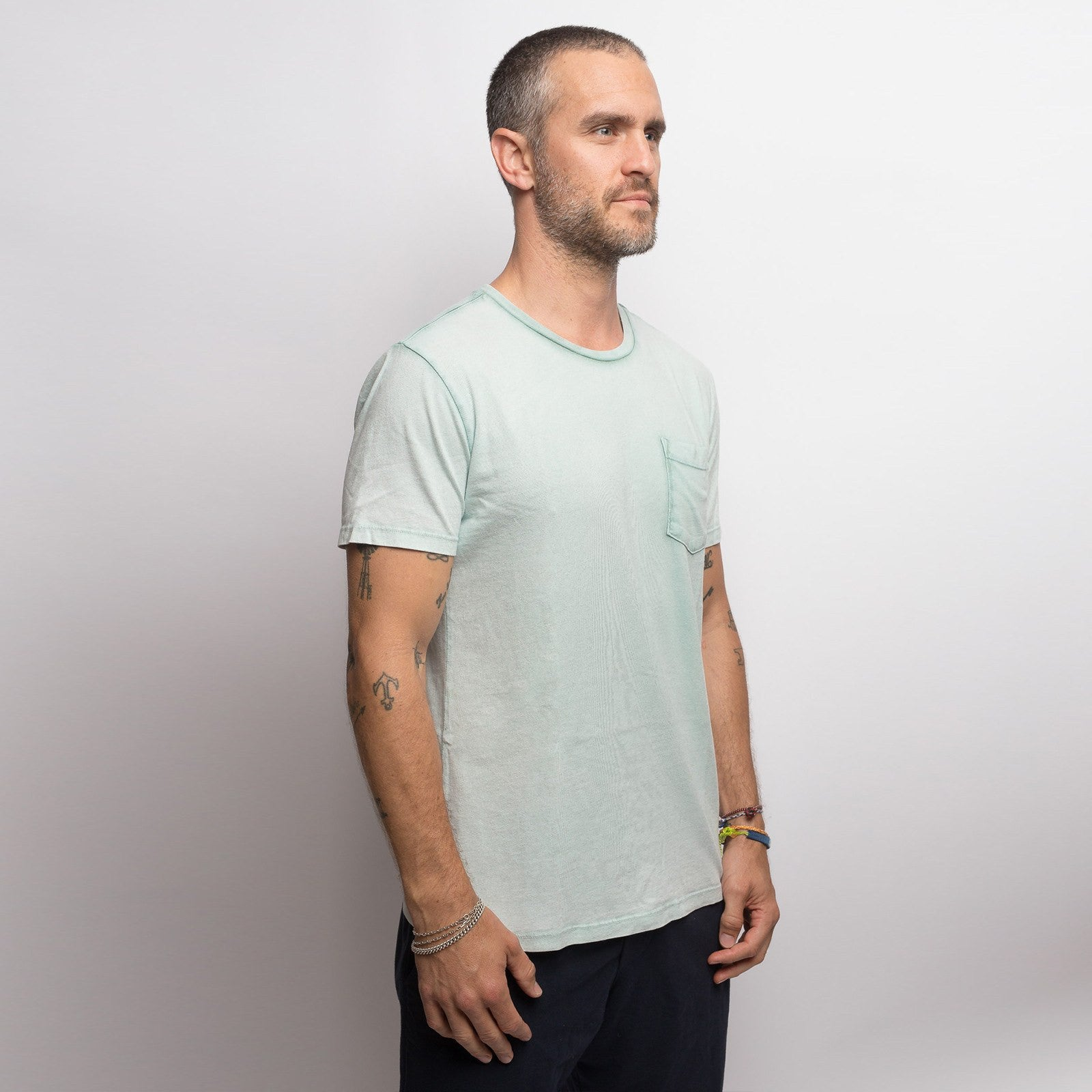 Mint Green Salt Washed Crew - Sweat Tailor