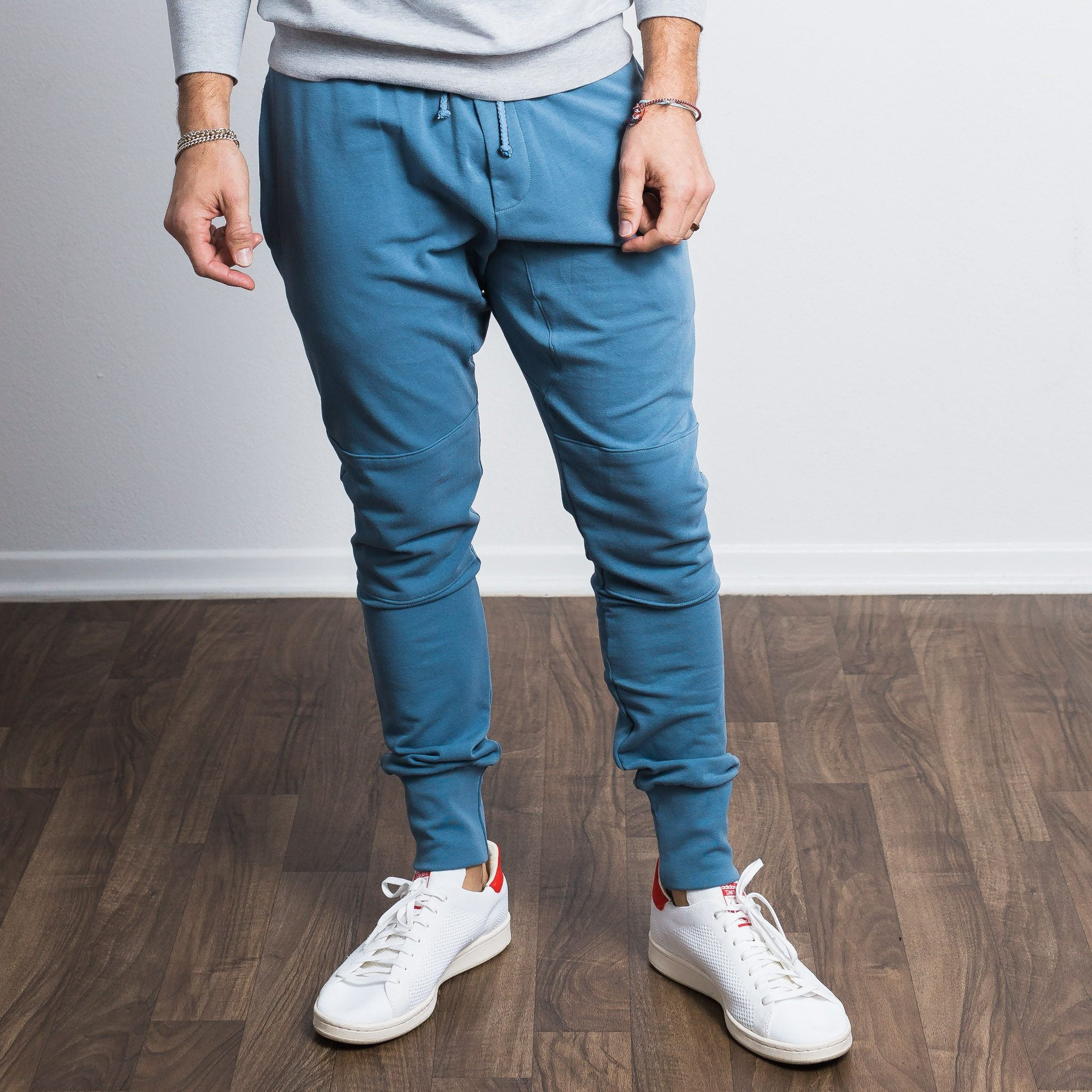 Medium Blue Stretch Tailored Joggers