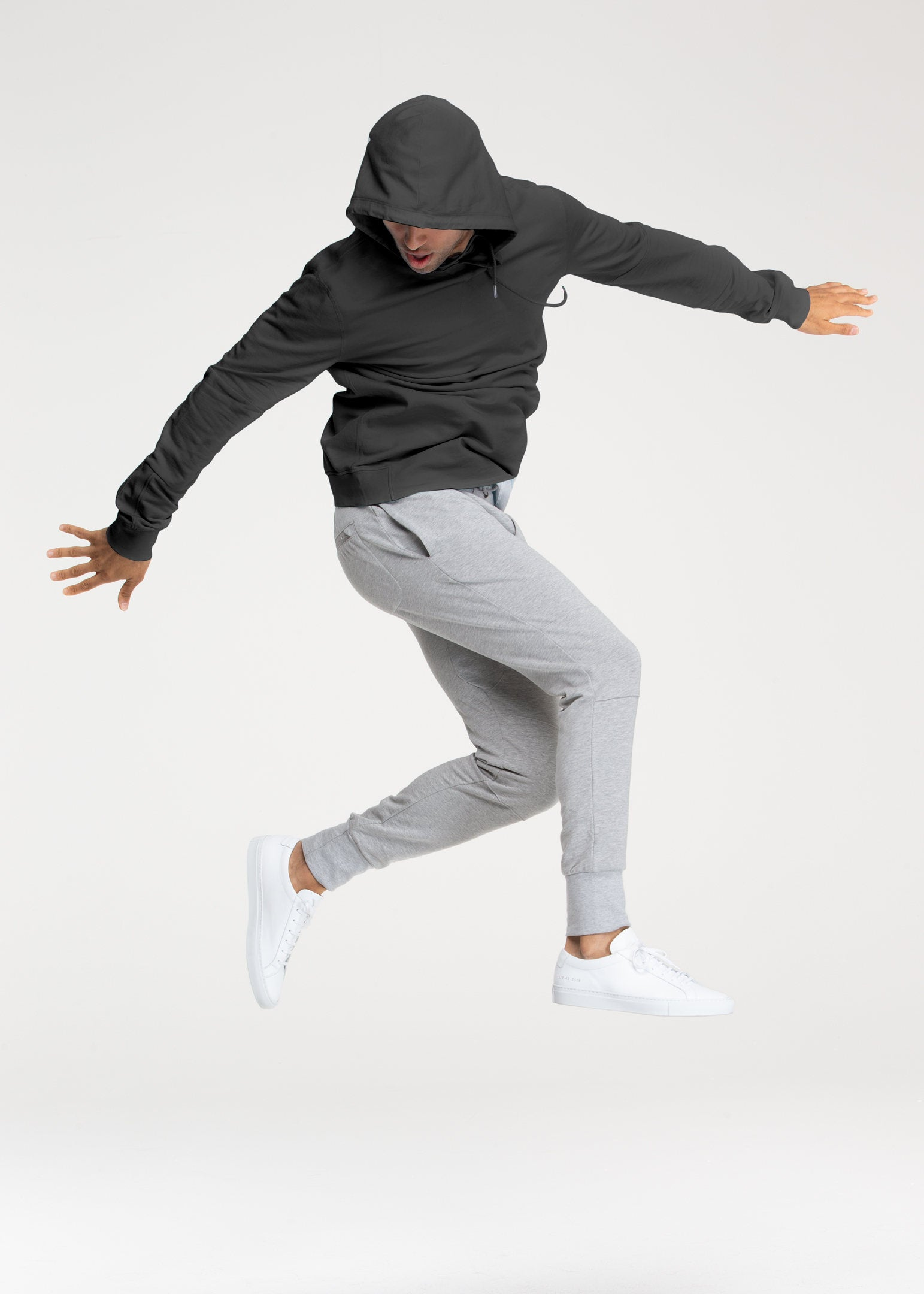 Charcoal Grey Stretch Pullover Hoodie - Sweat Tailor