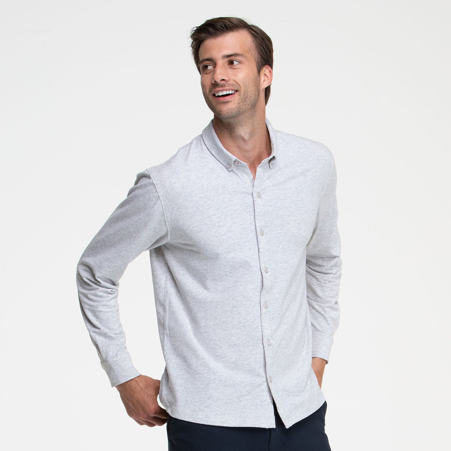 Heather Grey Button Front Shirt - Sweat Tailor