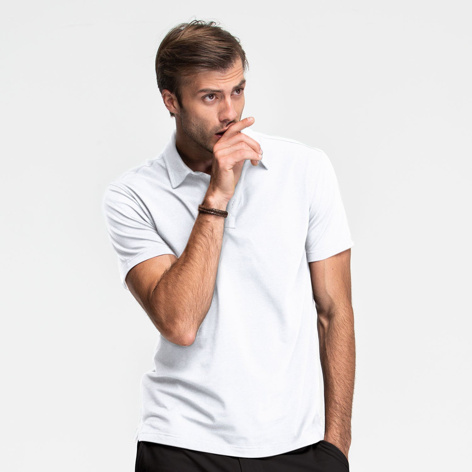 White Stretch Polo - Sweat Tailor