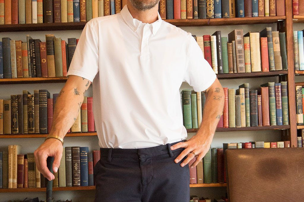 White Performance Stretch Polo