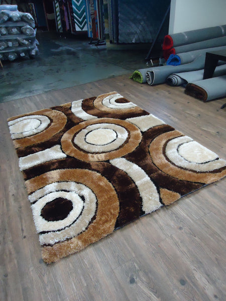 Handmade Vibrant Brown Shag Area Rug with Hand Carved ...