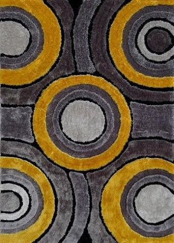 Modern Living Shag Area Rug Style 110 Gray Yellow Hand Tufted Weave