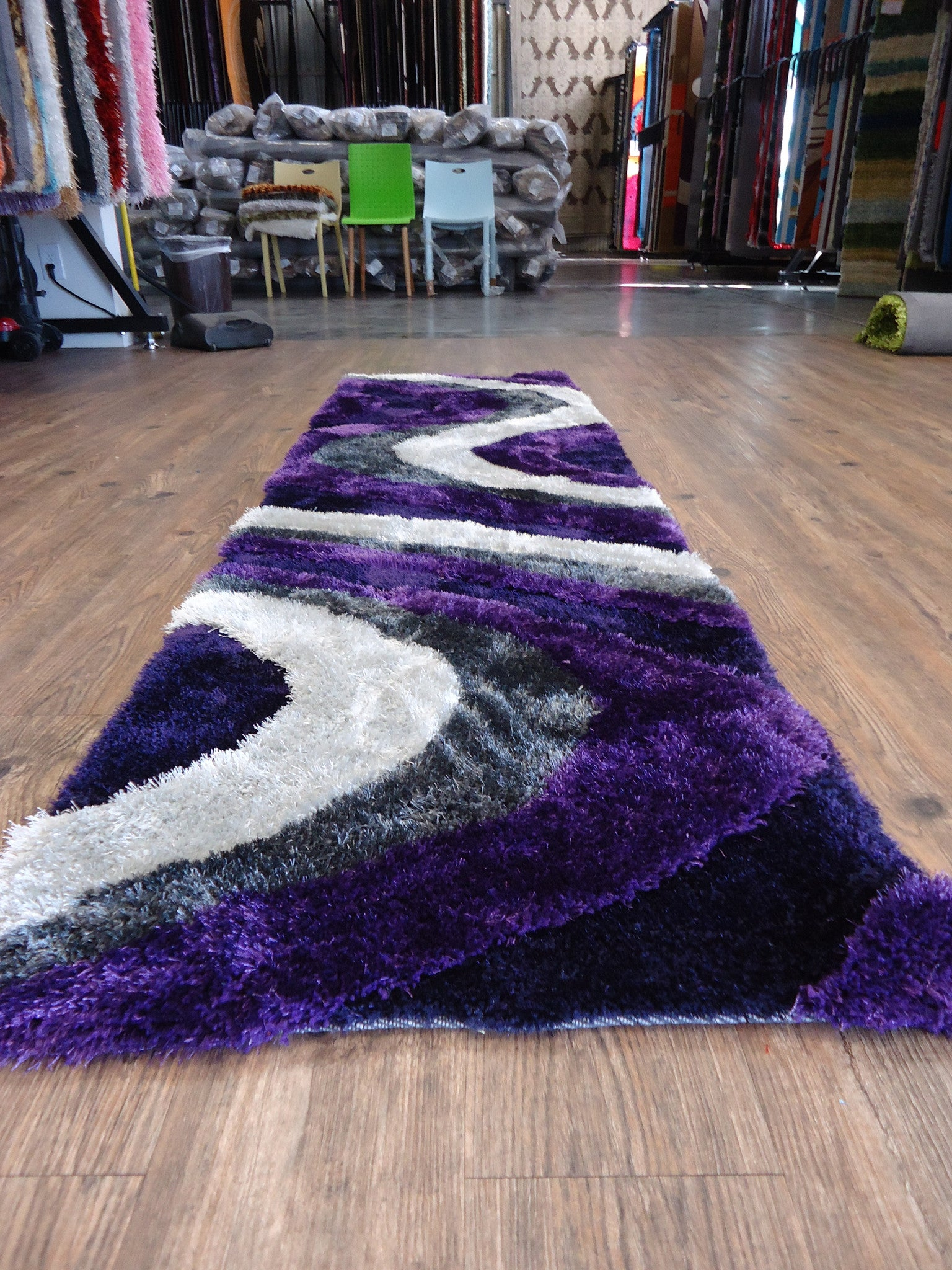 Shaggy Indoor Area Rug In Grey With Purple Rug Addiction