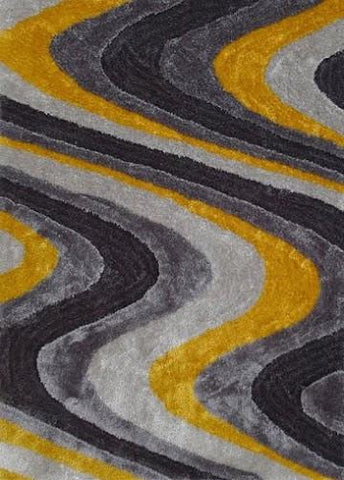 Modern Living Shag Area Rug Style 112 Gray Yellow Hand Tufted Weave