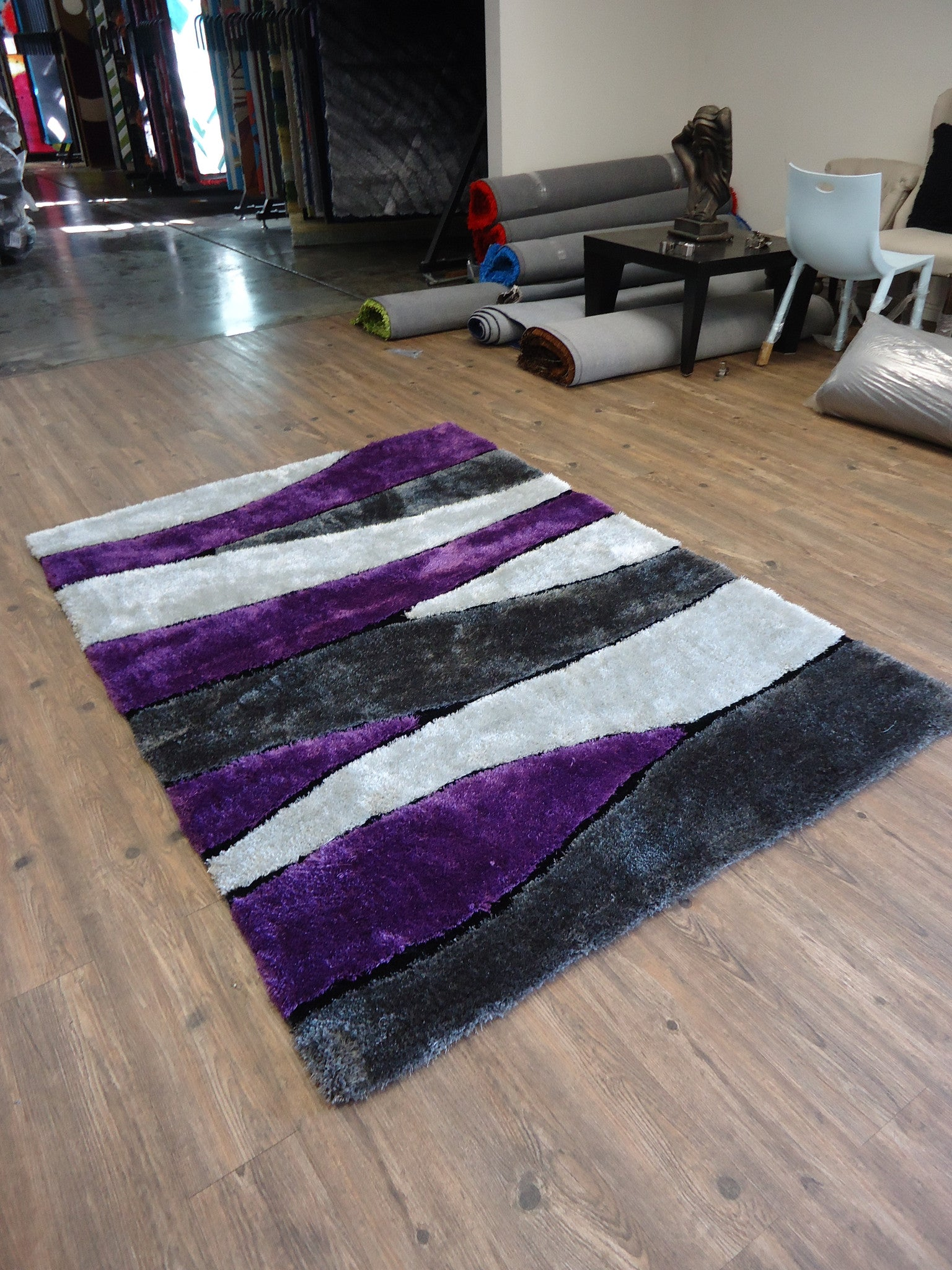 2piece set handmade vibrant gray with purple shag area rug with hand carved
