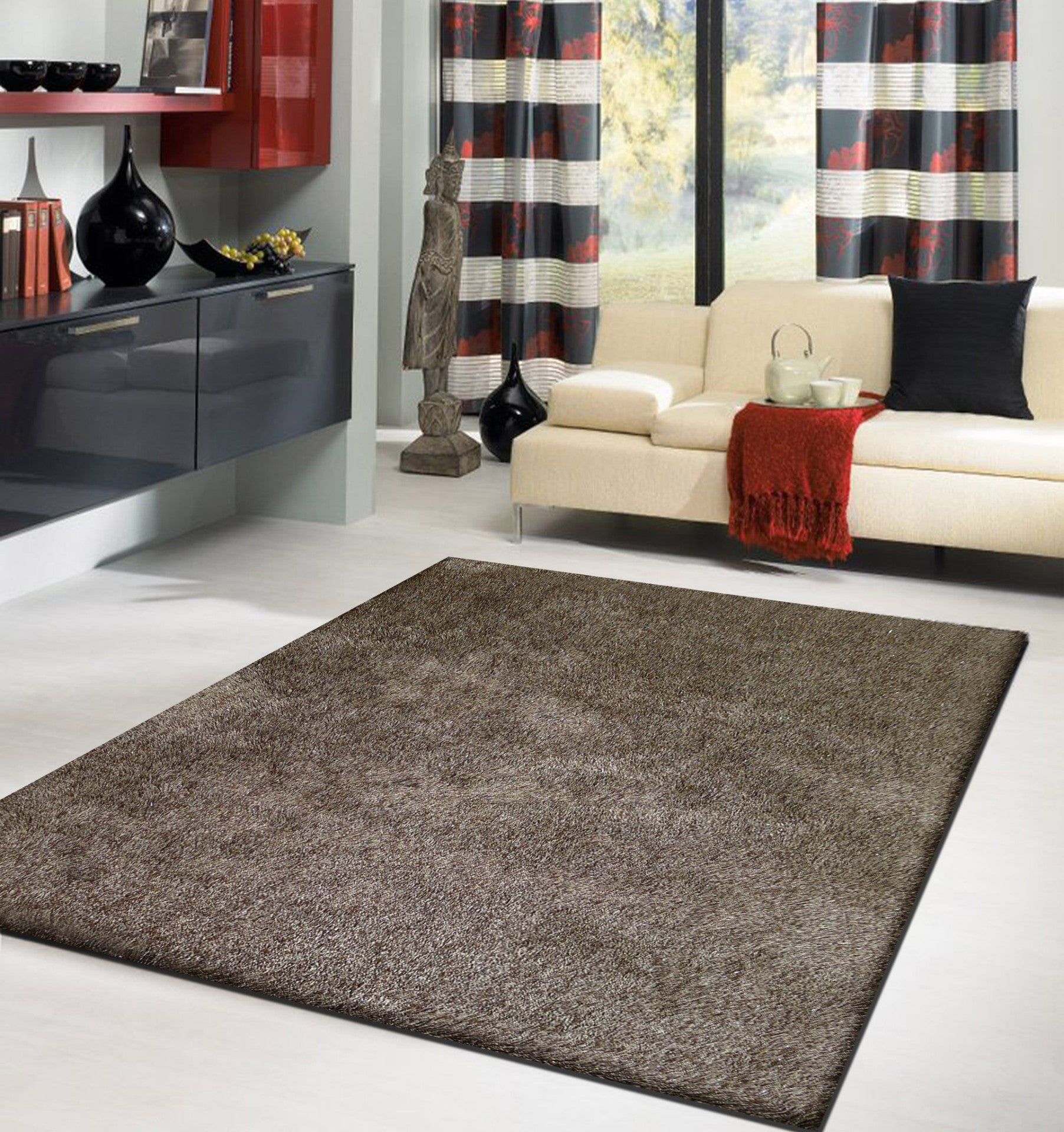 2tone brown long soft durable shag area rug 5u0027 x 7u0027 ft - Shag Area Rug