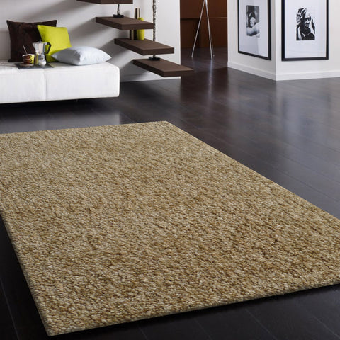 2-Piece Set | Solid Beige Thick Plush Shag Area Rug with Rug Pad