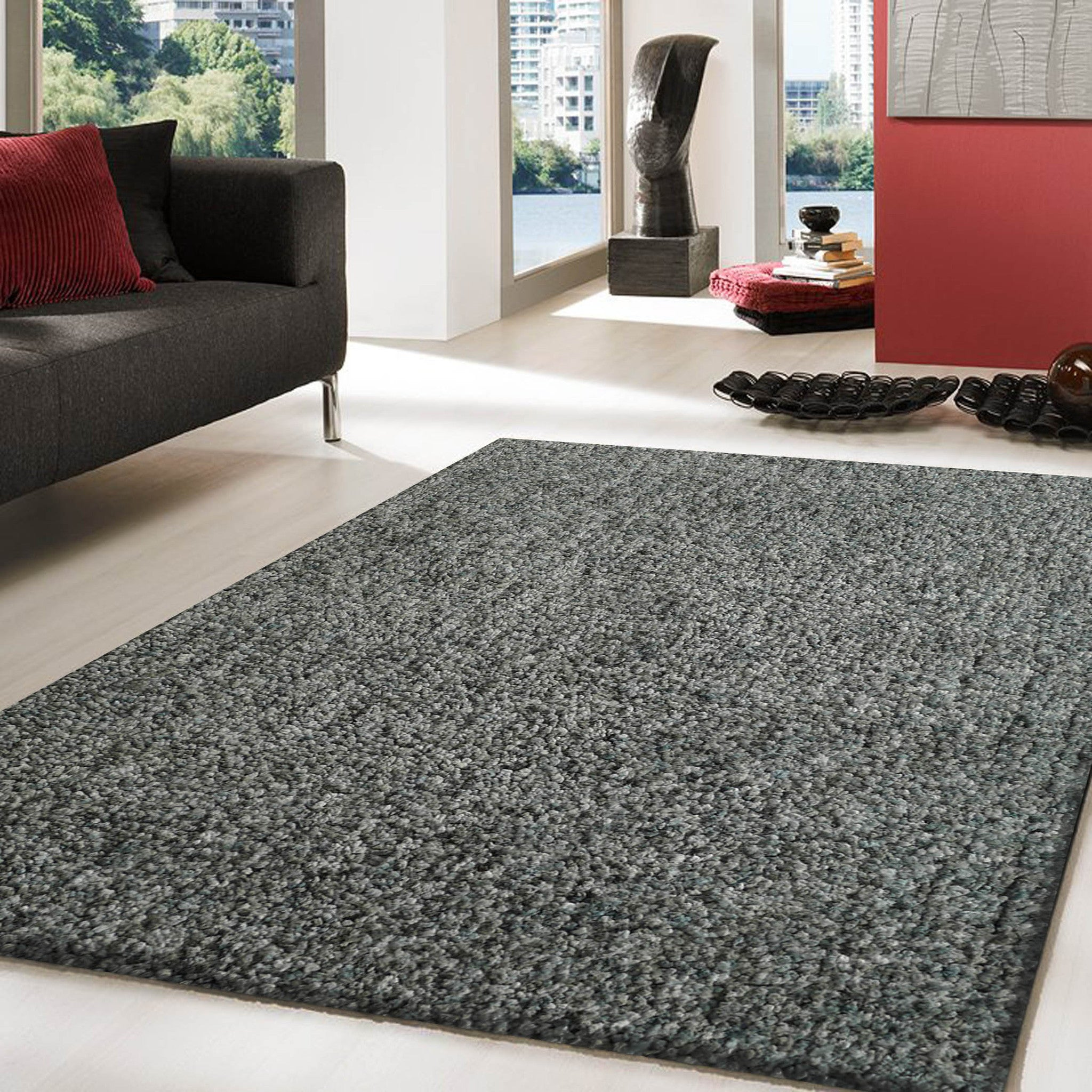 2 Piece Set | Solid Blue Thick Plush Shag Area Rug With Rug Pad ...