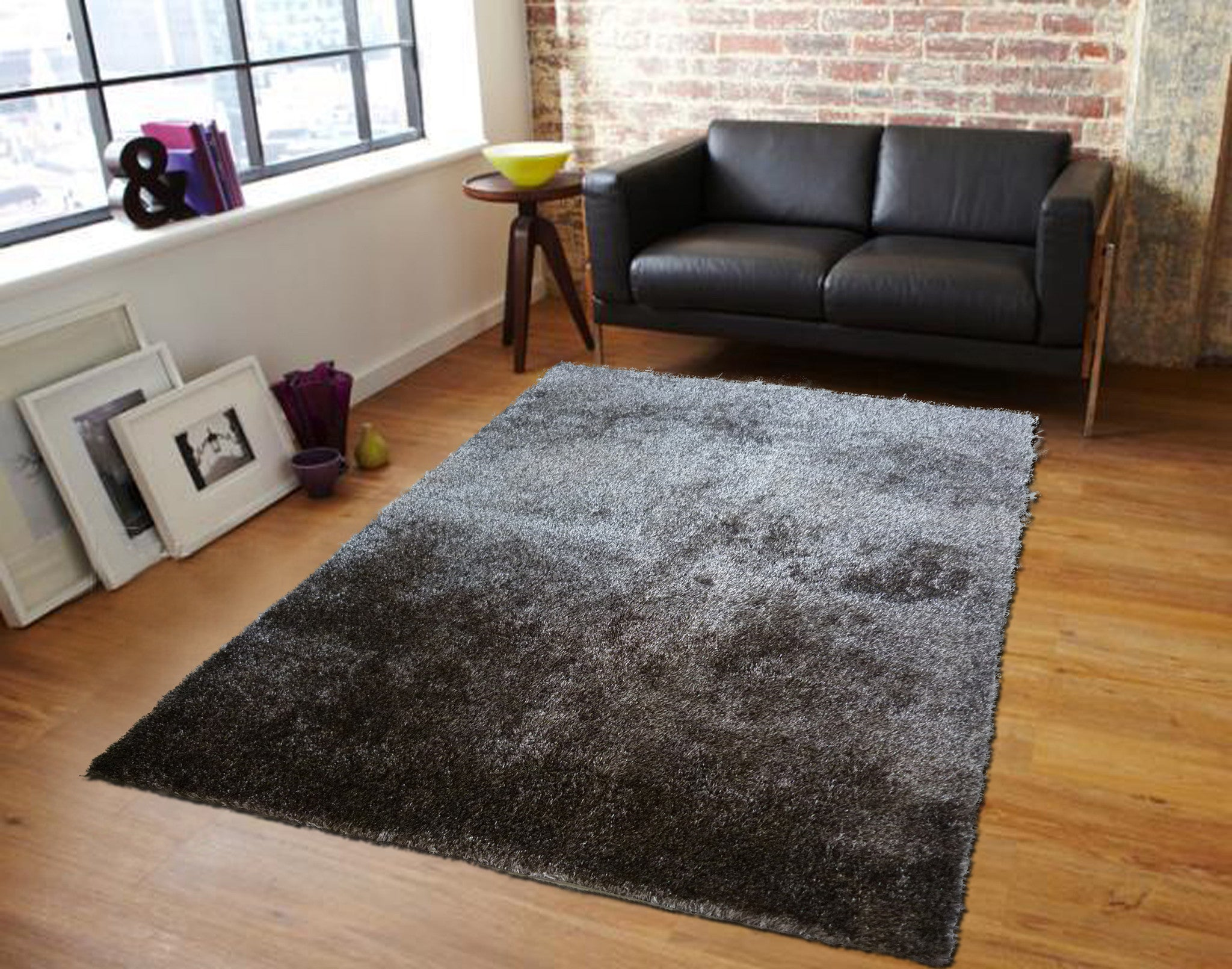 Hand Tufted Black Silver Ash Mix Solid Shag Area Rug