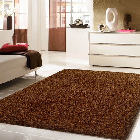 2-Piece Set | Solid Brown Thick Plush Shag Area Rug with Rug Pad
