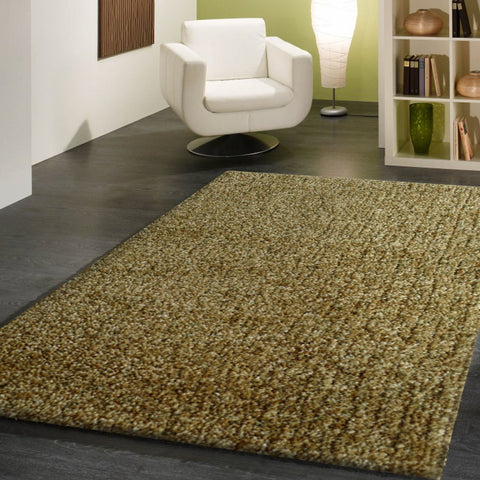 2-Piece Set | Solid Green Thick Plush Shag Area Rug with Rug Pad