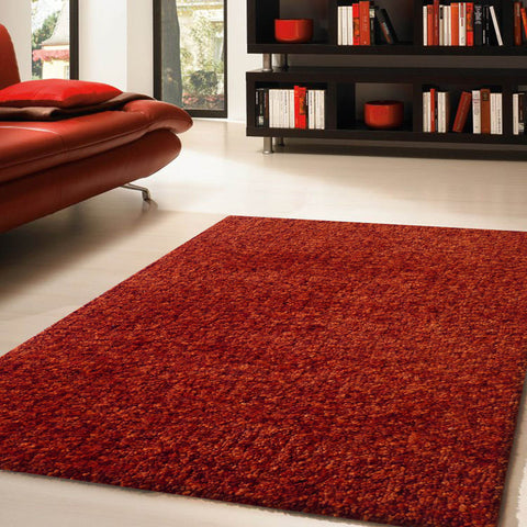 2-Piece Set | Solid Orange Thick Plush Shag Area Rug with Rug Pad