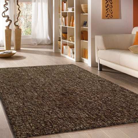 2-Piece Set | Solid Grey Thick Shag Area Rug with Rug Pad