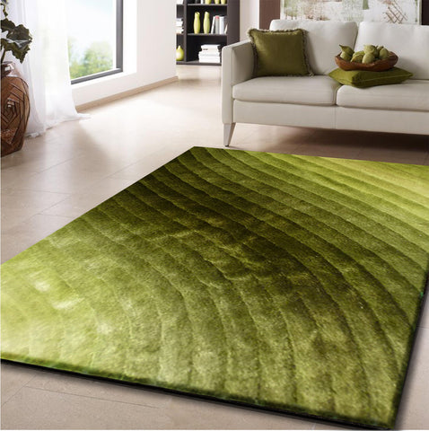 3-Piece Set |  Dimensional Solid Green Hand Made Rug