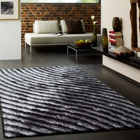 3-Piece Set | Dimensional Grey Shaggy Indoor Hand-tufted Area Rug