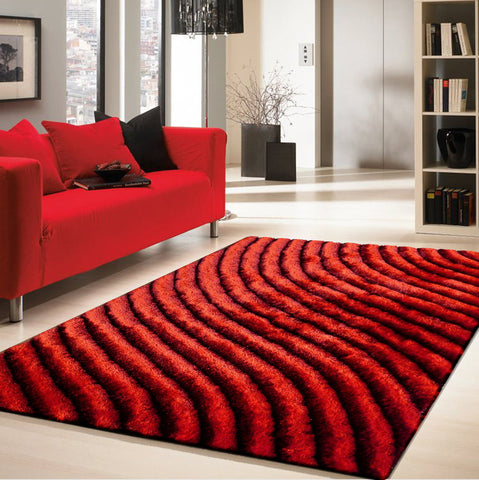 3-Piece Set | Red Shaggy Dimensional Area Rug