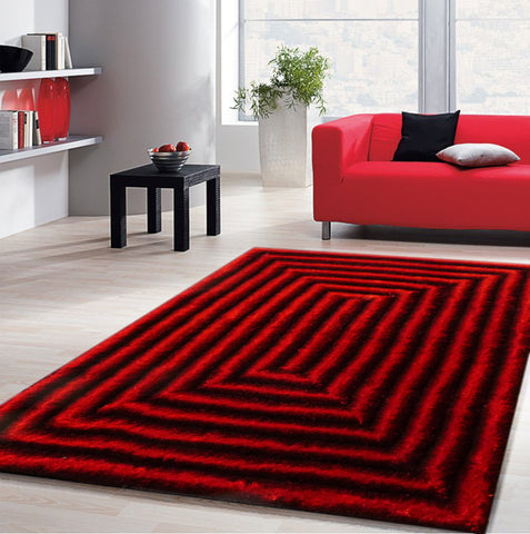 3-Piece Set | Shaggy Red Dimensional Hand-tufted Rug