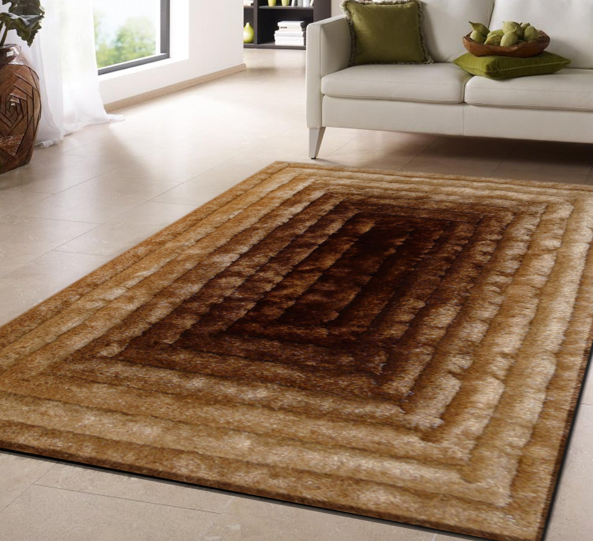 Handmade Vibrant Gold Brown 3 Dimensional Shag Area Rug
