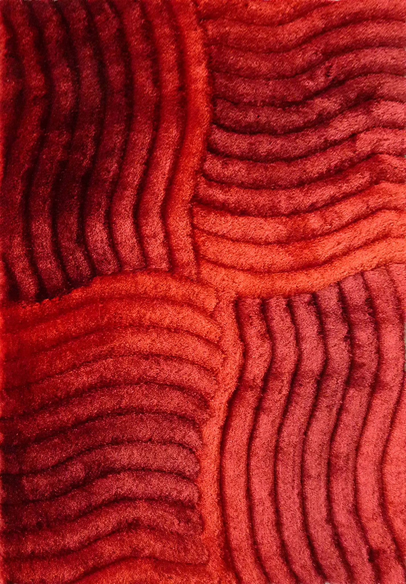 3 Dimensional Hand Tufted Red Shag Area Rug With Hand