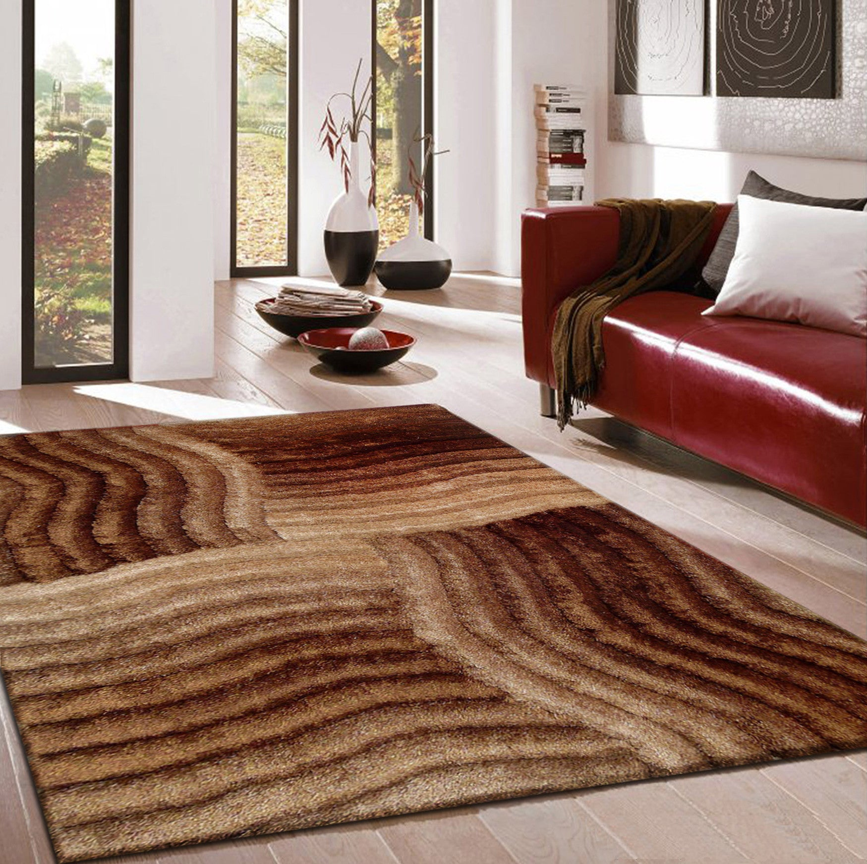 Hand Tufted Gold Brown 3 Dimensional Shag Area Rug With Hand Carved Design  5u0027 ...
