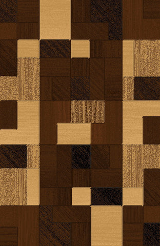 3-Piece Set | NATURAL BROWN WITH GEOMETRICAL DESIGN RUG