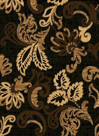 Beautiful Grand Floral Area Rug in Black with Touch of Brown , Area Rug -  Rug