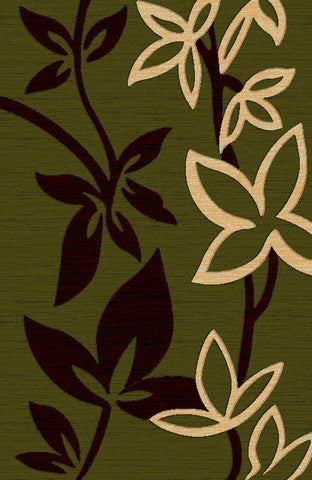 Green Contemporary Area Rug with Beautiful Floral Design