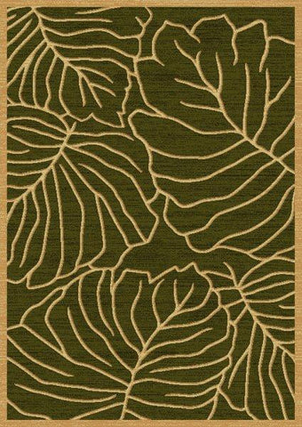 Indoor Green Floral Area Rug In a Contemporary Style
