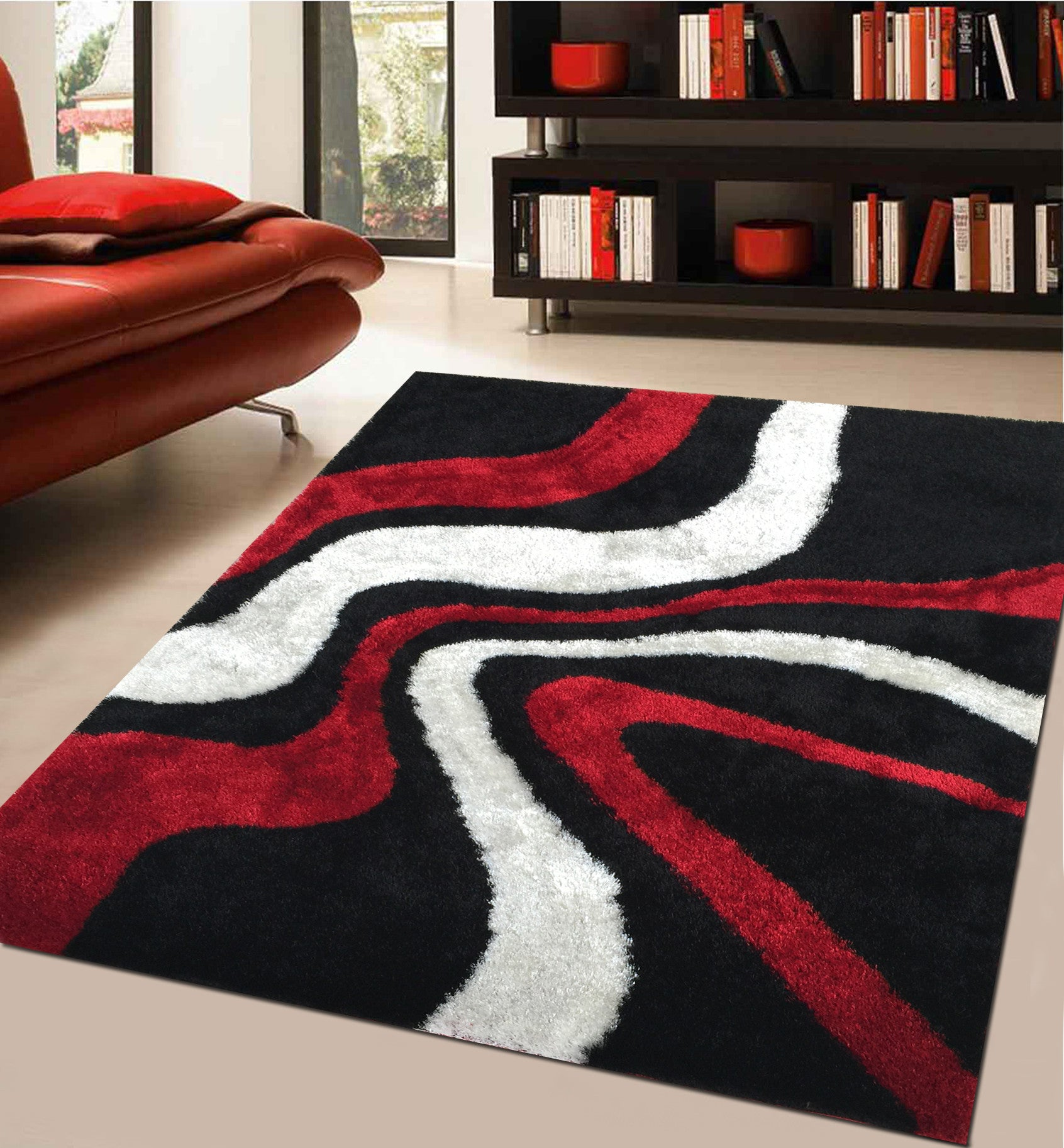 Soft indoor bedroom shag area rug in red rug addiction for Alfombras de esmirna