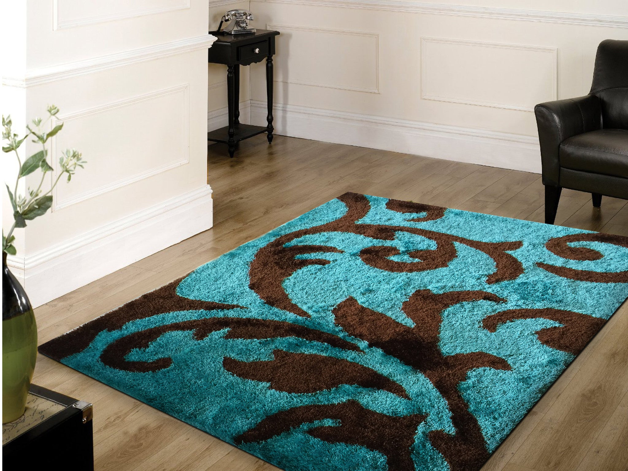 soft indoor bedroom shag area rug brown with turquoise 5u0027 ft x 7u0027 - Shag Area Rug