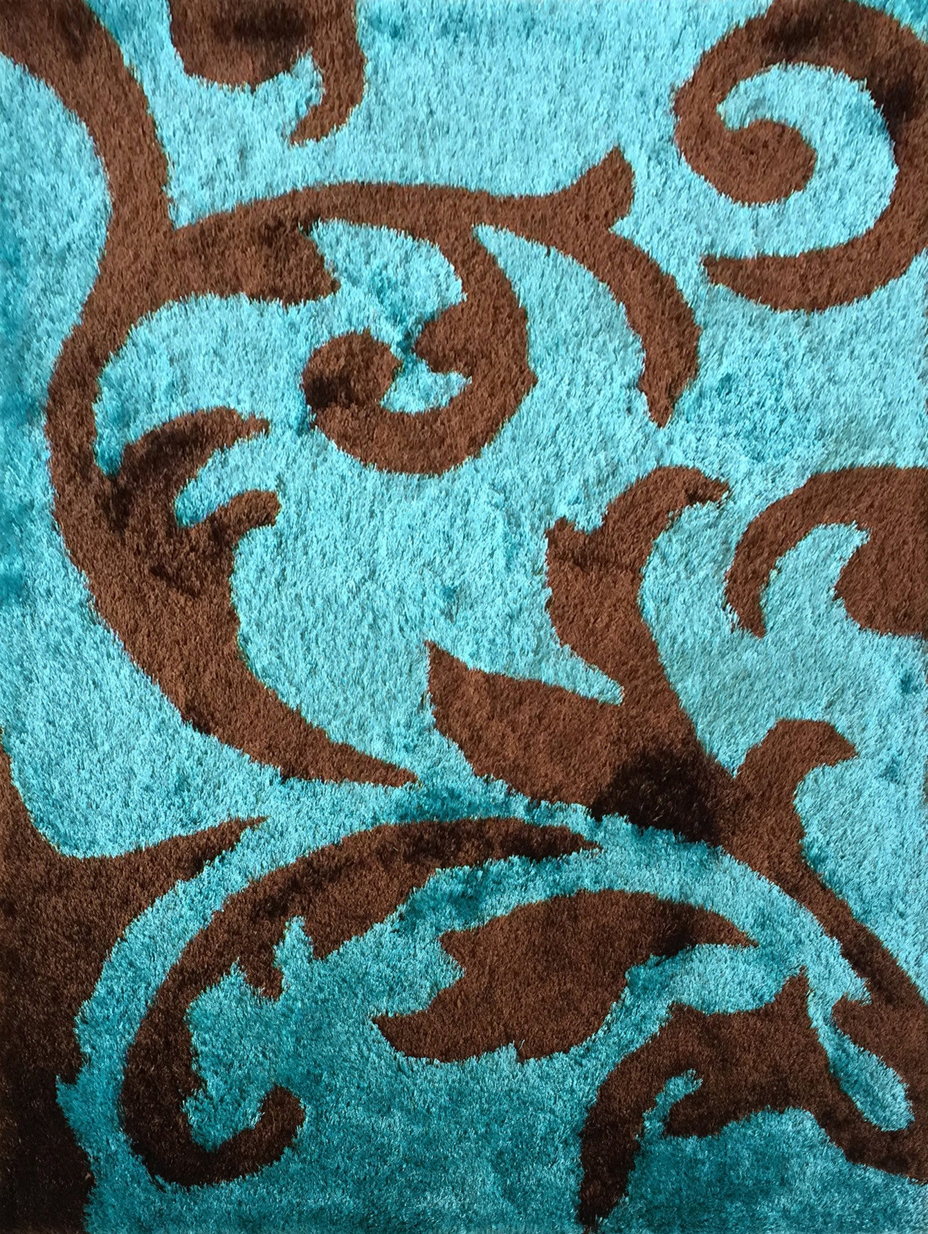 Soft Indoor Bedroom Shag Area Rug Brown with Turquoise Rug Addiction