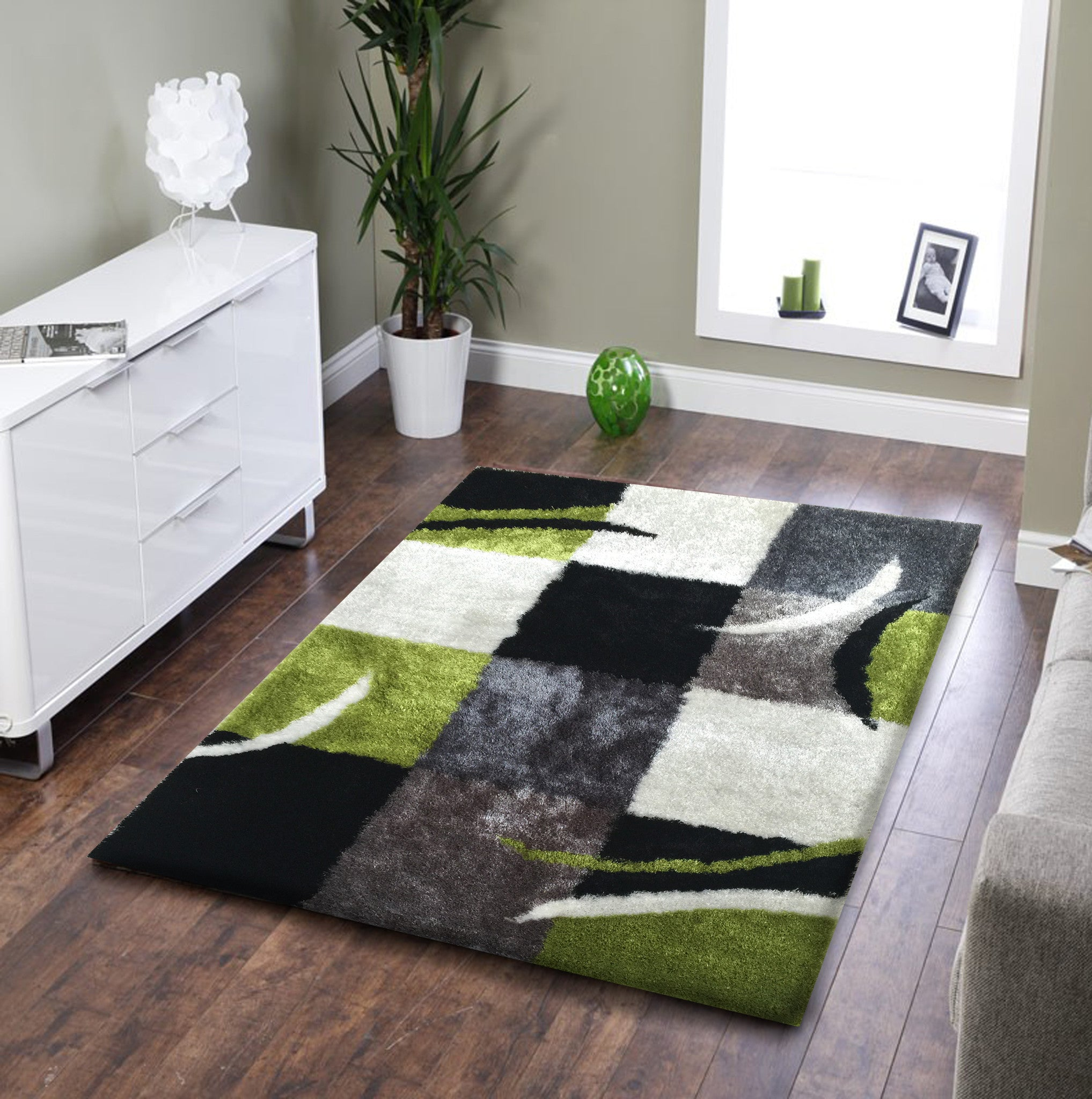 Shag Area Rugs For Living Room soft indoor bedroom shag area rug black with grey and green - rug