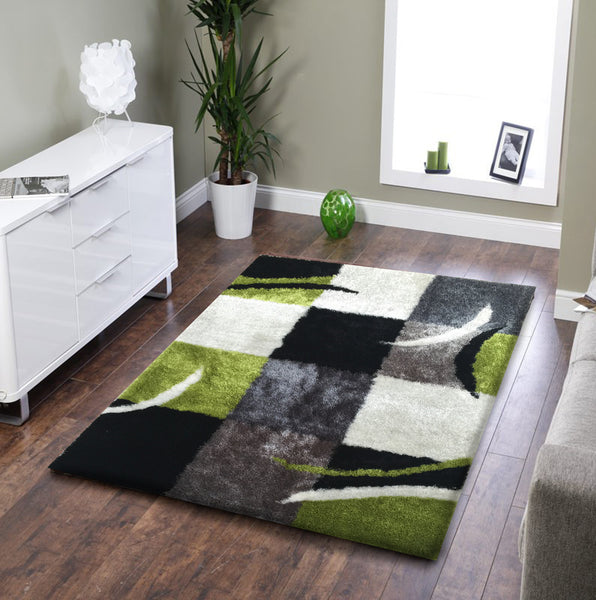 Soft Indoor Bedroom Shag Area Rug Black With Grey And