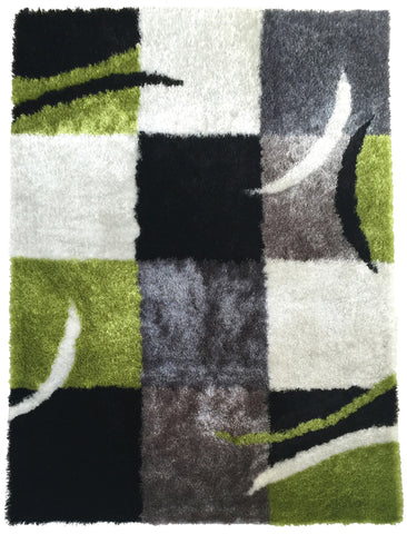 Soft Indoor Bedroom Shag Area Rug Black with Grey and Green