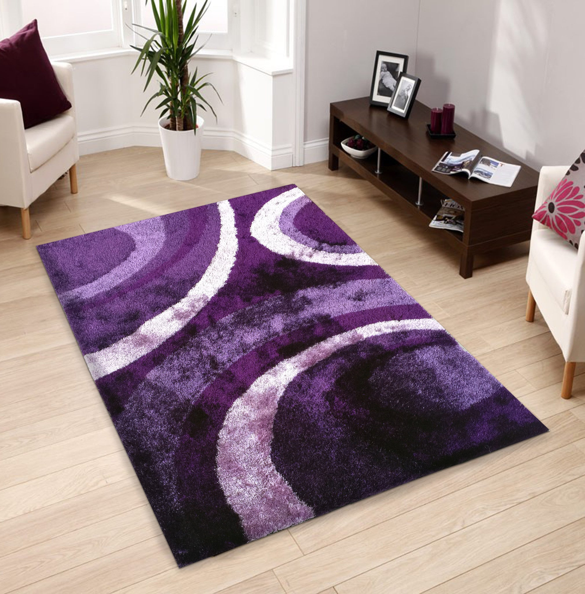 Floral Purple Indoor Bedroom Shag Area Rug - Rug Addiction