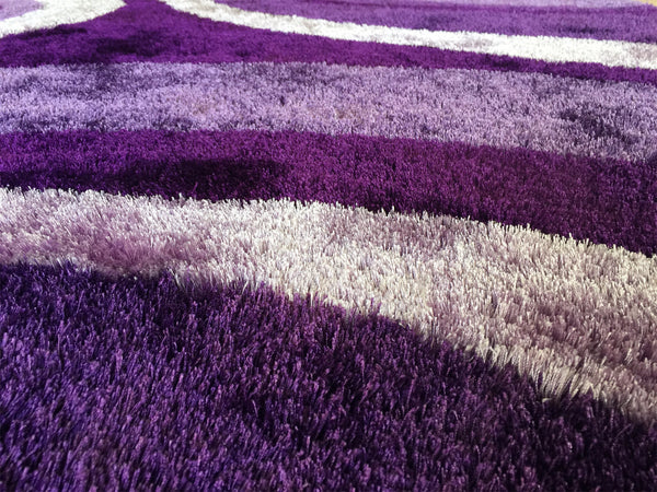 Floral Purple Indoor Bedroom Shag Area Rug