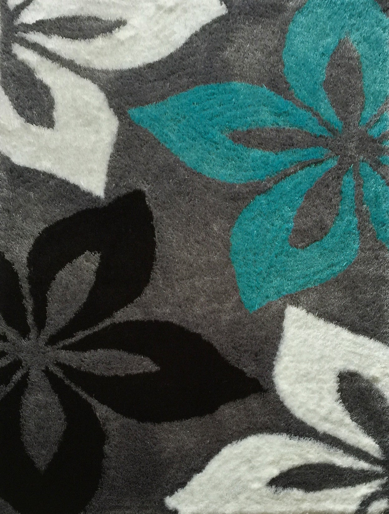 Floral Grey With Turquoise Indoor Bedroom Shag Area Rug