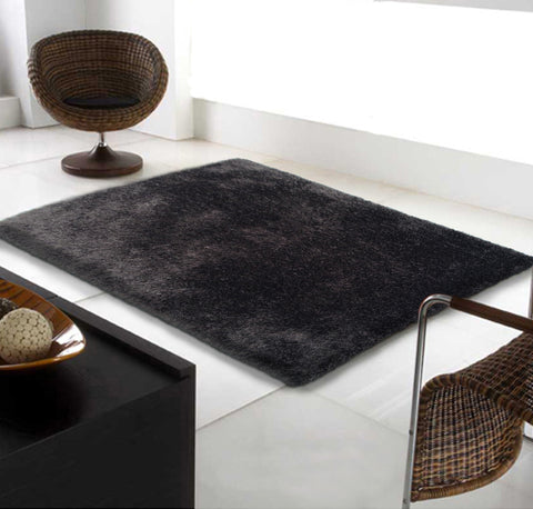 3-Piece Set | IN SINGLE SOLID VIBRANT BLACK SHAG RUG
