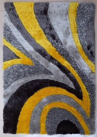 Design 26 Gray Yellow 100% Polyester Modern Hand Tufted Shag Area Rug