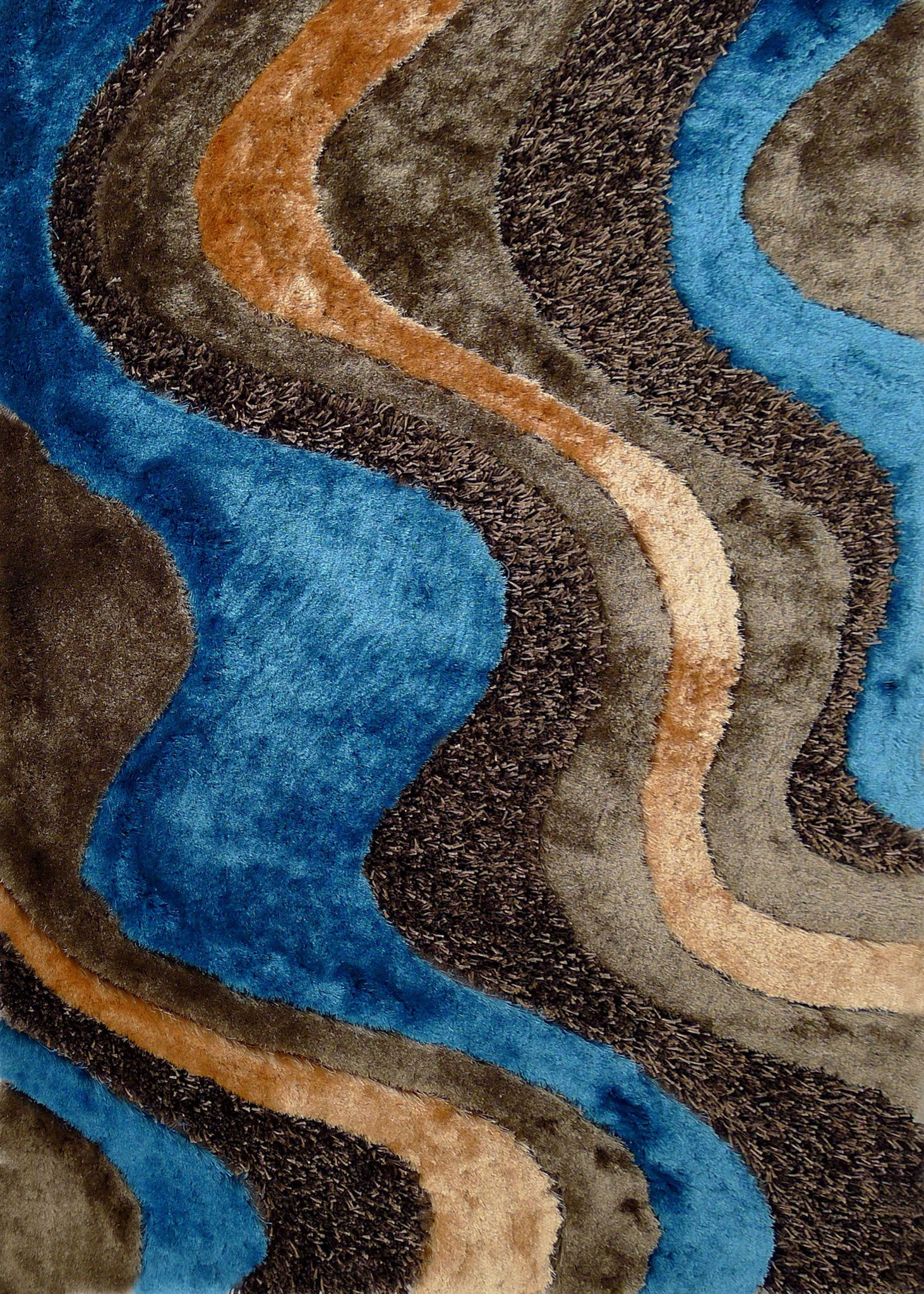 ... Brown With Blue Shag Rug 2u0027 X 3u0027 Ft.