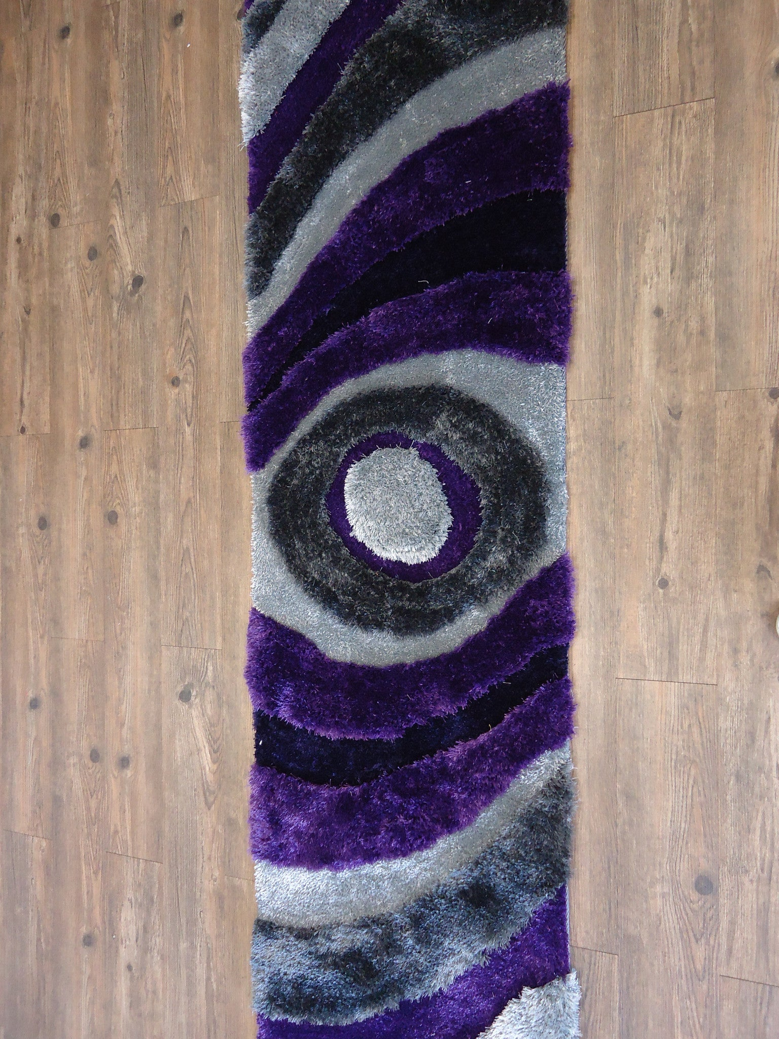Handmade Purple Amp Gray Dimensional Shag Area Rug With Hand