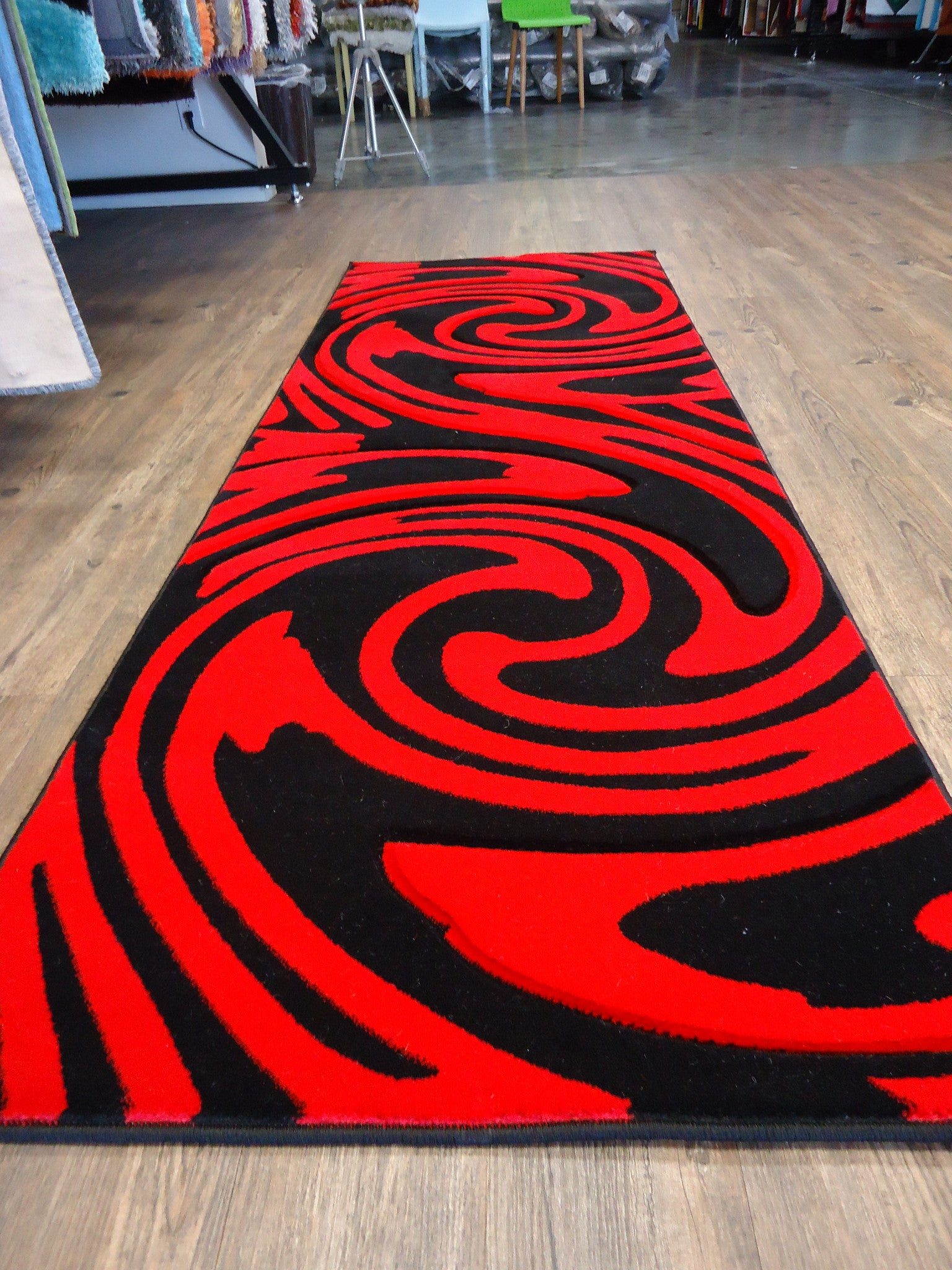 New Red With Black Geometric Area Rug Hand Carved Rug