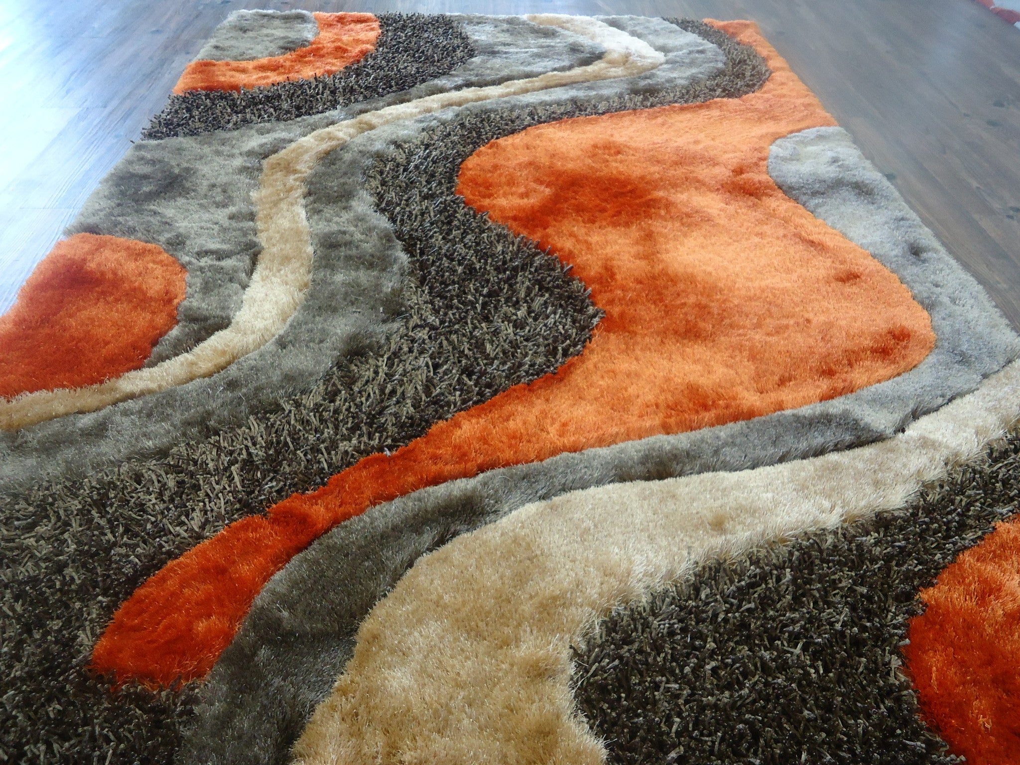 Orange Shag Area Rugs 2-piece set | shag brown with orange area rug with pad - rug addiction