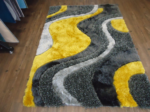3 Piece Set Shag Yellow With Grey And Black Handmade Rug