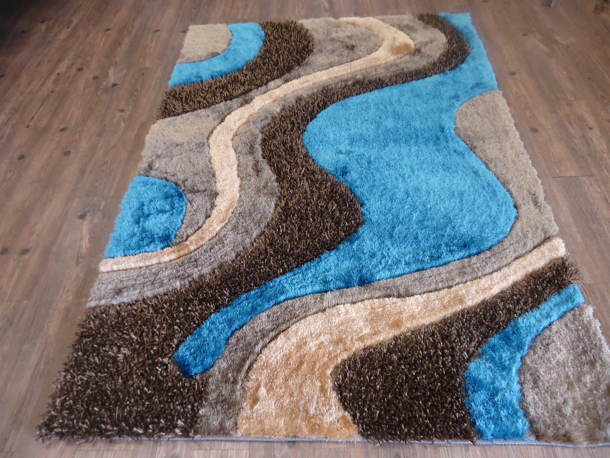 Brown With Blue Shag Rug By Rug Addiction